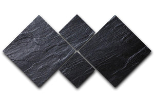 Black Textured Stone 4 Square Multi Panel Canvas - Canvas Art Rocks - 1