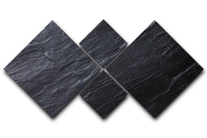 Black Textured Stone 4 Square Multi Panel Canvas