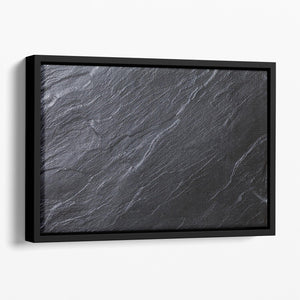 Black Textured Stone Floating Framed Canvas - Canvas Art Rocks - 1
