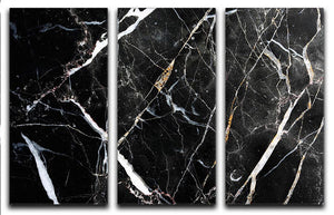 Black White and Gold Cracked Marble 3 Split Panel Canvas Print - Canvas Art Rocks - 1