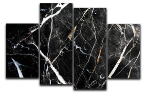 Black White and Gold Cracked Marble 4 Split Panel Canvas - Canvas Art Rocks - 1