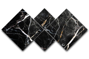 Black White and Gold Cracked Marble 4 Square Multi Panel Canvas - Canvas Art Rocks - 1