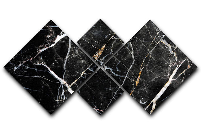 Black White and Gold Cracked Marble 4 Square Multi Panel Canvas
