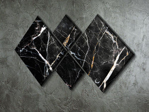 Black White and Gold Cracked Marble 4 Square Multi Panel Canvas - Canvas Art Rocks - 2