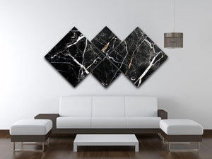 Black White and Gold Cracked Marble 4 Square Multi Panel Canvas - Canvas Art Rocks - 3