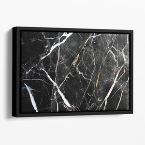 Black White and Gold Cracked Marble Floating Framed Canvas - Canvas Art Rocks - 1