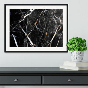 Black White and Gold Cracked Marble Framed Print - Canvas Art Rocks - 1
