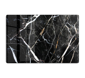Black White and Gold Cracked Marble HD Metal Print - Canvas Art Rocks - 1