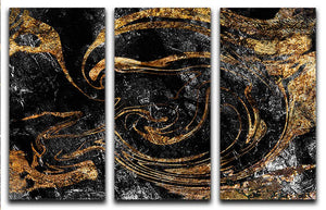 Black and Gold Swirled Marble 3 Split Panel Canvas Print - Canvas Art Rocks - 1