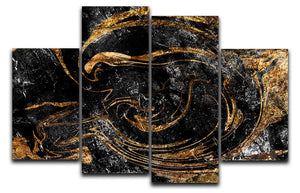 Black and Gold Swirled Marble 4 Split Panel Canvas - Canvas Art Rocks - 1