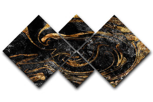 Black and Gold Swirled Marble 4 Square Multi Panel Canvas - Canvas Art Rocks - 1