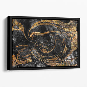 Black and Gold Swirled Marble Floating Framed Canvas - Canvas Art Rocks - 1