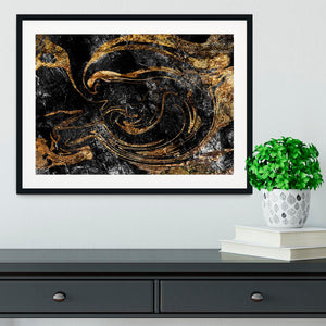 Black and Gold Swirled Marble Framed Print - Canvas Art Rocks - 1