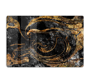 Black and Gold Swirled Marble HD Metal Print - Canvas Art Rocks - 1