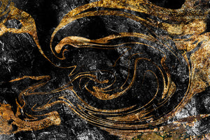 Black and Gold Swirled Marble Wall Mural Wallpaper - Canvas Art Rocks - 1