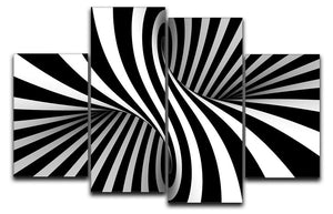 Black and White Optical Ilusion 4 Split Panel Canvas - Canvas Art Rocks - 1
