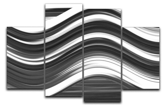 Black and White Wave 4 Split Panel Canvas