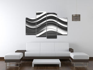 Black and White Wave 4 Split Panel Canvas - Canvas Art Rocks - 3