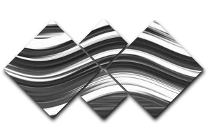 Black and White Wave 4 Square Multi Panel Canvas - Canvas Art Rocks - 1