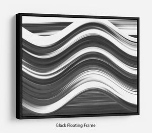 Black and White Wave Floating Frame Canvas - Canvas Art Rocks - 1