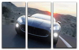 Black sport car on road 3 Split Panel Canvas Print - Canvas Art Rocks - 1
