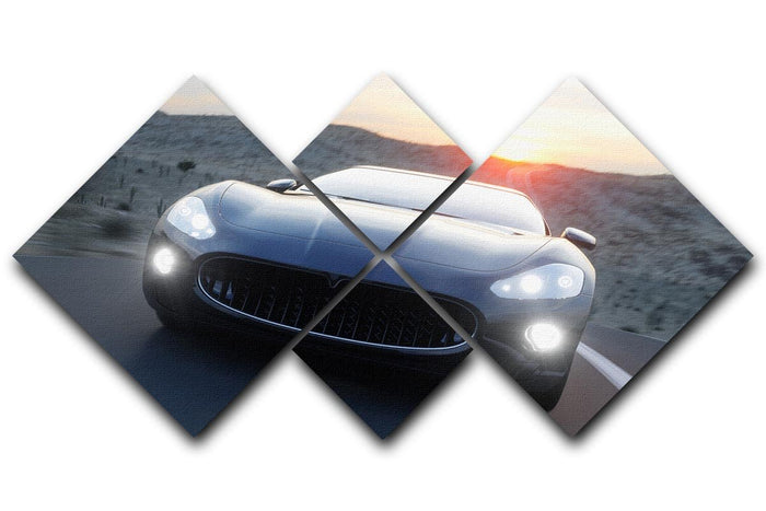 Black sport car on road 4 Square Multi Panel Canvas