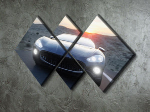 Black sport car on road 4 Square Multi Panel Canvas  - Canvas Art Rocks - 2