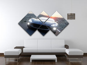 Black sport car on road 4 Square Multi Panel Canvas  - Canvas Art Rocks - 3