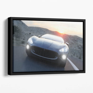 Black sport car on road Floating Framed Canvas