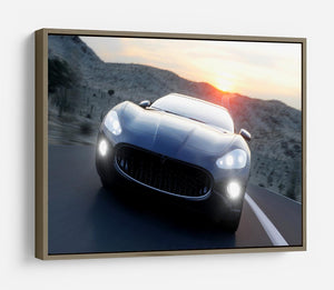 Black sport car on road HD Metal Print