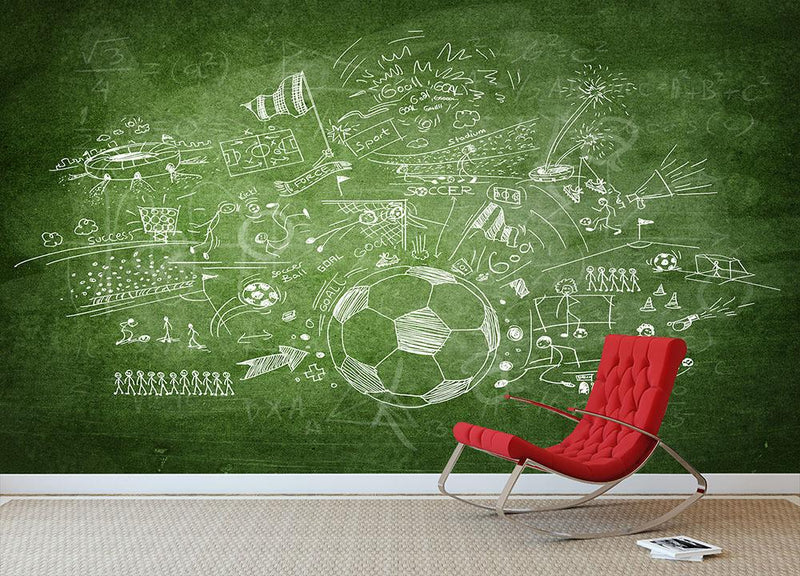 Blackboard soccer concept Wall Mural Wallpaper - Canvas Art Rocks - 1