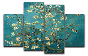 Blossoming Almond Tree by Van Gogh 4 Split Panel Canvas  - Canvas Art Rocks - 1