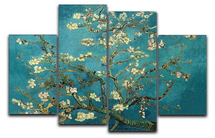 Blossoming Almond Tree by Van Gogh 4 Split Panel Canvas