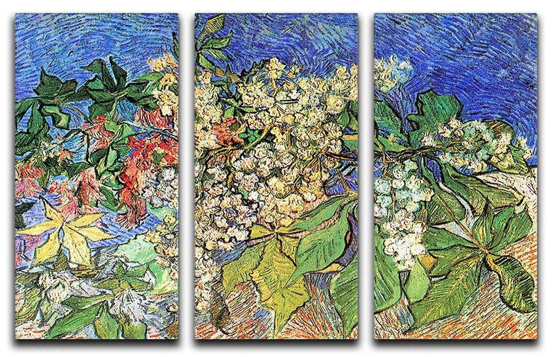 Blossoming Chestnut Branches by Van Gogh 3 Split Panel Canvas Print - Canvas Art Rocks - 4