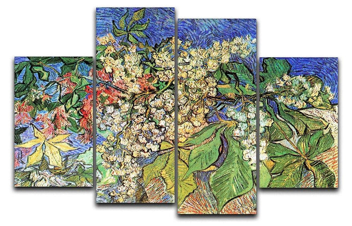 Blossoming Chestnut Branches by Van Gogh 4 Split Panel Canvas