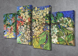Blossoming Chestnut Branches by Van Gogh 4 Split Panel Canvas - Canvas Art Rocks - 2