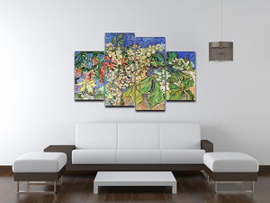 Blossoming Chestnut Branches by Van Gogh 4 Split Panel Canvas - Canvas Art Rocks - 3