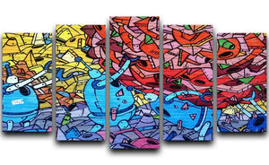Blue Robot Graffiti 5 Split Panel Canvas  - Canvas Art Rocks - 1