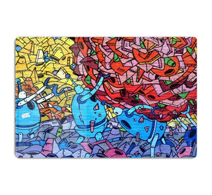 Blue Robot Graffiti HD Metal Print