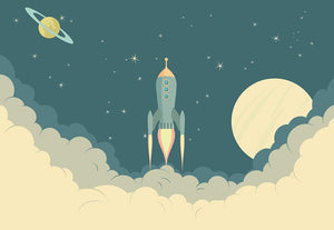 Blue Spaceship taking off Wall Mural Wallpaper - Canvas Art Rocks - 1