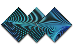 Blue Toned Waves 4 Square Multi Panel Canvas - Canvas Art Rocks - 1