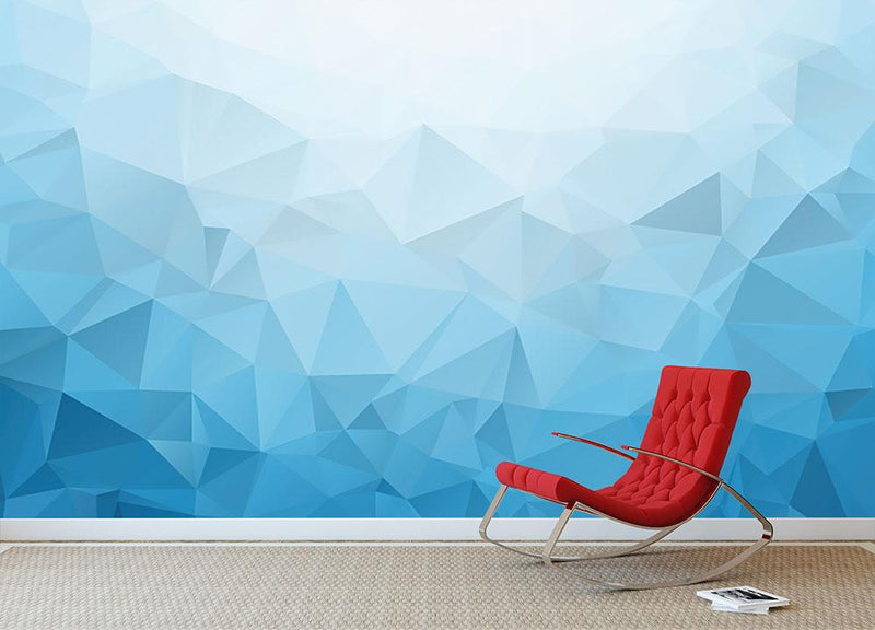 Blue Triangle Texture Wall Mural Wallpaper - Canvas Art Rocks - 1