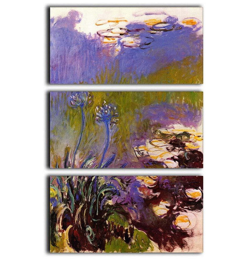 Blue Tuberosen by Monet 3 Split Panel Canvas Print - Canvas Art Rocks - 1