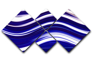Blue Wave 4 Square Multi Panel Canvas - Canvas Art Rocks - 1