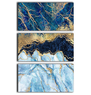 Blue and Gold Layered Marble 3 Split Panel Canvas Print - Canvas Art Rocks - 1