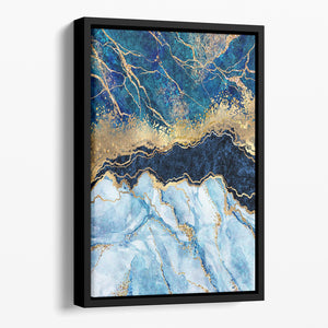 Blue and Gold Layered Marble Floating Framed Canvas - Canvas Art Rocks - 1