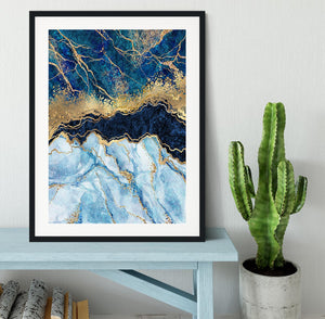Blue and Gold Layered Marble Framed Print - Canvas Art Rocks - 1