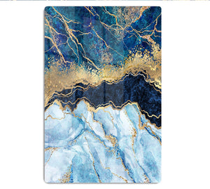 Blue and Gold Layered Marble HD Metal Print - Canvas Art Rocks - 1