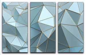 Blue and Gold Triangulated Surface 3 Split Panel Canvas Print - Canvas Art Rocks - 1