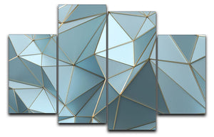 Blue and Gold Triangulated Surface 4 Split Panel Canvas - Canvas Art Rocks - 1